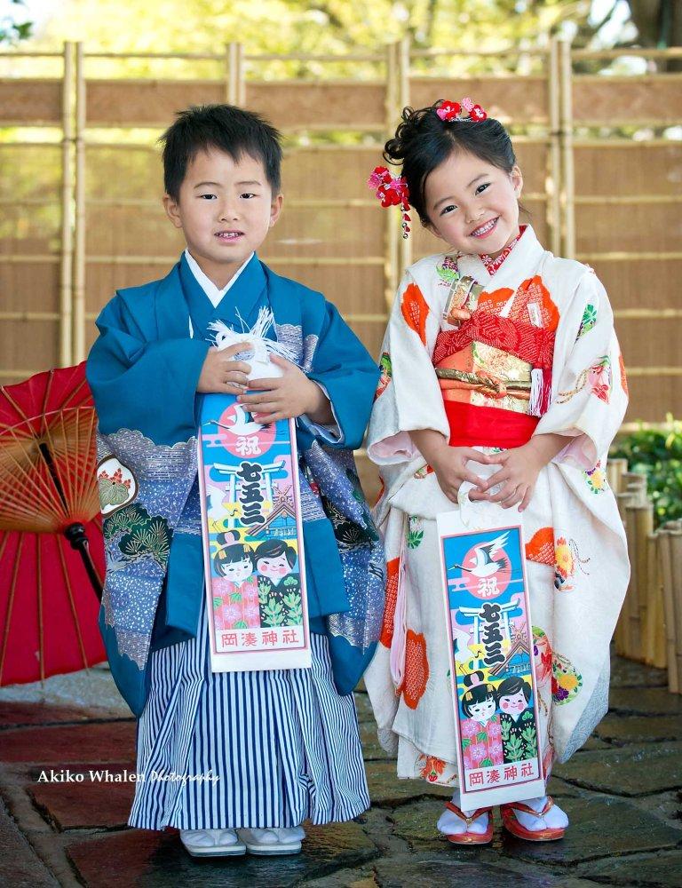A girl in Japanese Kimono, Shichi Go San, Children in Kimono,