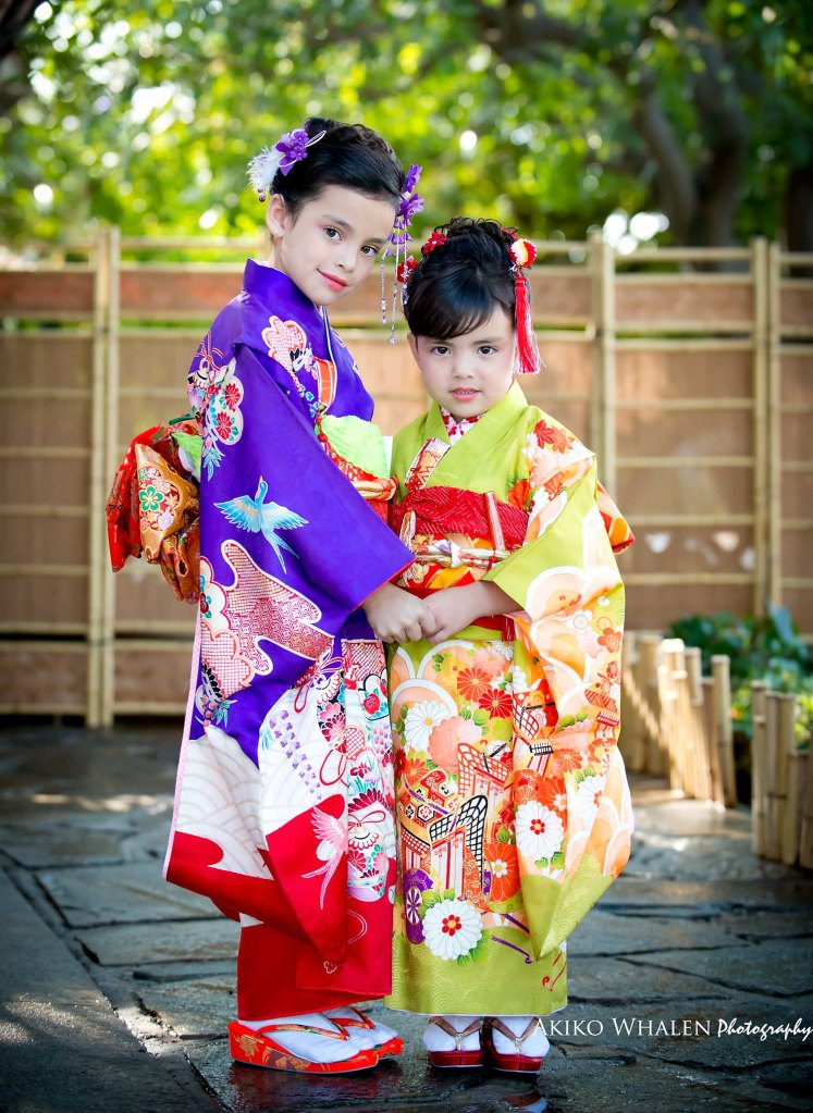 A girl in kimono, Celebrating Shichi Go San, Kimono Photography utilizing natural lighting, Shichi Go San in Los Angeles, Sisters in kimonos,