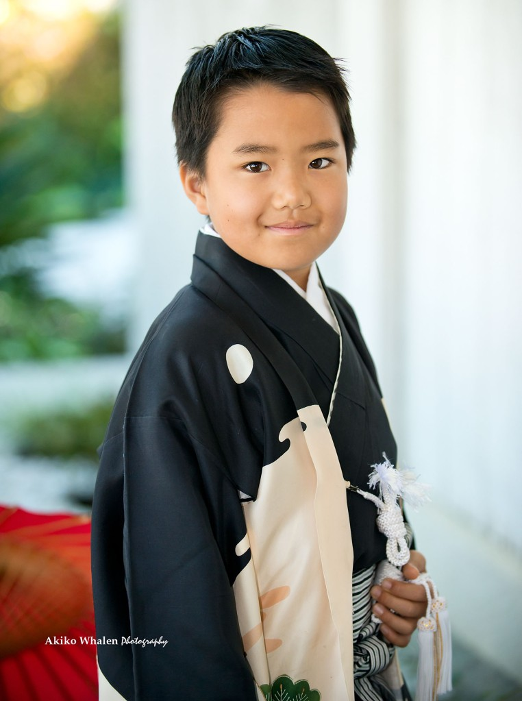 A boy in kimono, Japanese kimono,